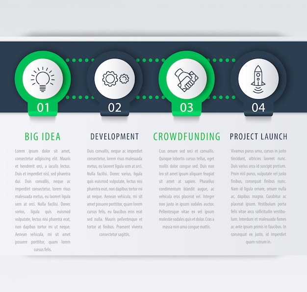 Opstarten infographic ontwerpelementen, 1, 2, 3, 4 stappen, tijdlijn, zakelijke infographics sjabloon, illustratie