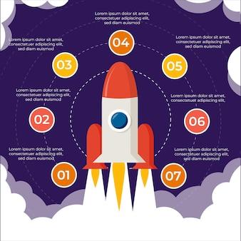 Opstarten infographic plat ontwerp