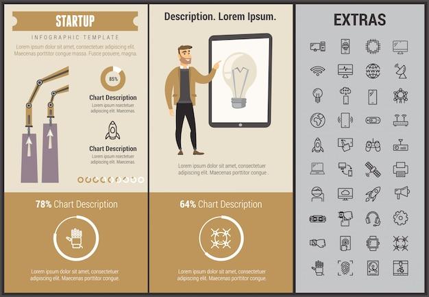 Opstarten infographic sjabloon, elementen en pictogrammen