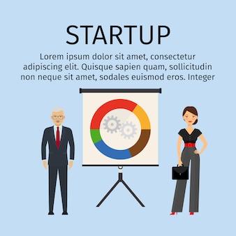 Opstarten infographic sjabloon met mensen uit het bedrijfsleven