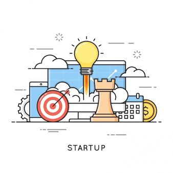 Opstarten, lancering van bedrijfsprojecten, nieuwe ideeën. platte lijn kunststijl