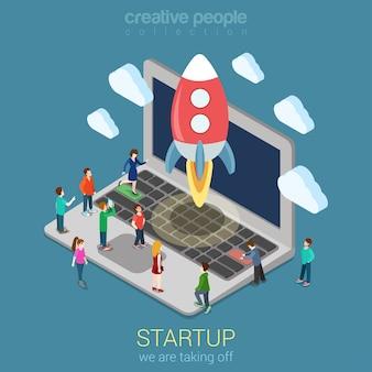 Opstarten lanceringsproces plat 3d web