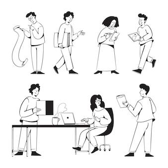 Opstarten mensen activiteiten doodles voor de website van het marketingbureau