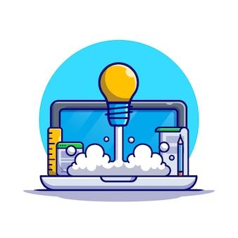 Opstarten met lamp opstijgen cartoon pictogram illustratie. technologie pictogram bedrijfsconcept