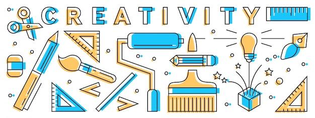 Opstarten platte lijn ontwerpconcept. opstarten elementen doodle geometrische.