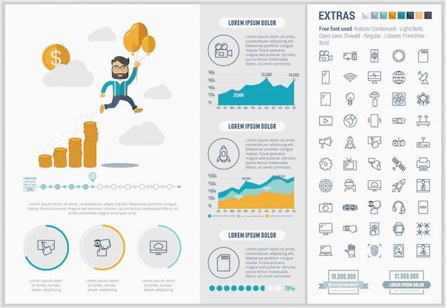Opstarten platte ontwerpsjabloon infographic en pictogrammen instellen