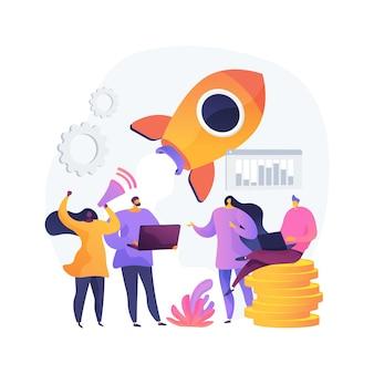 Opstarten, raketlancering, projectstart. zakendoen, oprichting van een bedrijf. teamwork, samenwerking, partnerschap. ondernemers stripfiguren. vector geïsoleerde concept metafoor illustratie.
