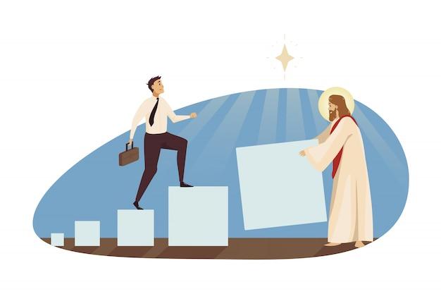 Opstarten succes, religie christendom, help bedrijfsconcept.