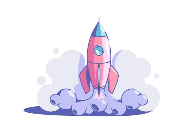 Opstarten symbool vector illustratie raket lancering vlakke stijl zakelijke creativiteit en prestatie succes en doel nieuw creatief idee en project strategie concept geïsoleerd