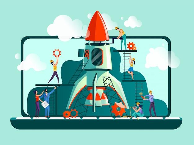 Opstarten van bedrijven concept illustratie