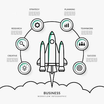 Opstarten van bedrijven infographic met meerdere opties, overzicht raketlancering workflowsjabloon