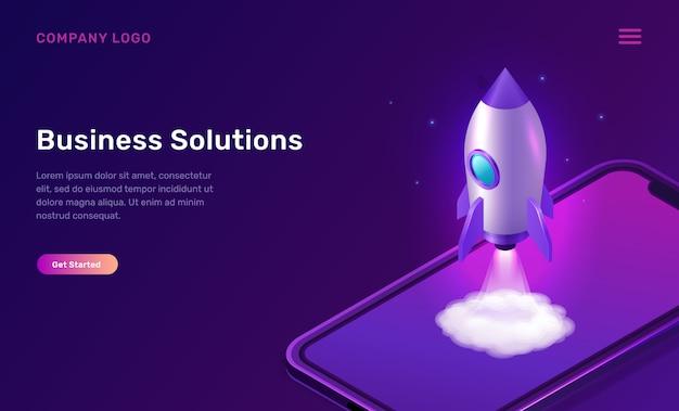 Opstarten van bedrijven isometrisch concept met raket