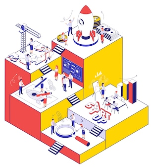 Opstarten van bedrijven kleur achtergrond met actieve mensen zoeken loep puzzelstukjes en tandwielen isometrische pictogrammen illustratie