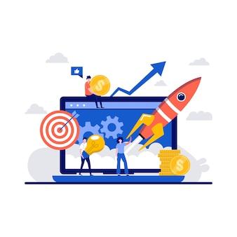 Opstarten van bedrijven, succes teamwork bij lancering raket concept met een klein karakter.