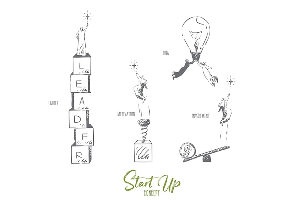 Opstarten van investeringen concept schets illustratie