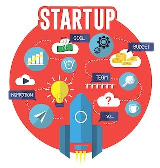 Opstarten van vector platte illustratie creatief concept, project, budget, team zoeken, doel, inspiratie idee, raket ruimteschip. op rode achtergrond.