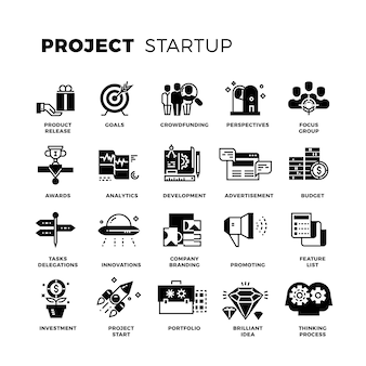Opstarten, venture capital, ondernemer vector icons set
