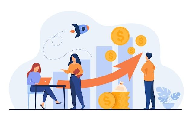 Opstartmanagers presenteren en analyseren van omzetgroeigrafiek. groep arbeiders met hoop geld, raket, staafdiagrammen met pijl en hoop geld