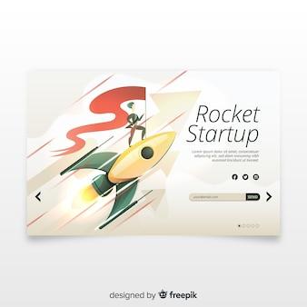 Opstartpagina met een raket