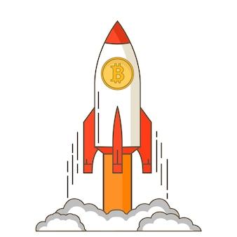 Opstartruimteraket van cryptocurrency bedrijfsconceptgroei van een cursus bitcoin start van het ruimteschip