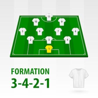 Opstellingen van voetballers, formatie 3-4-2-1. voetbal half stadion.