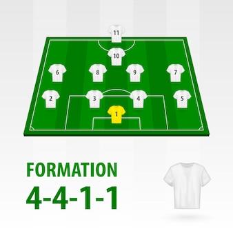 Opstellingen van voetballers, formatie 4-4-1-1. voetbal half stadion.