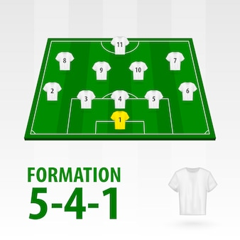 Opstellingen van voetballers, formatie 5-4-1 . voetbal half stadion.