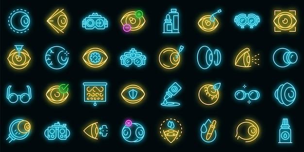 Opticien pictogrammen instellen. overzicht set van opticien vector iconen neon kleur op zwart