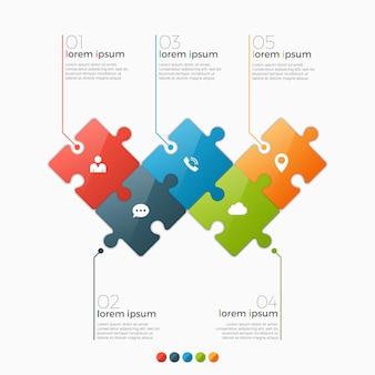 Opties infographic sjabloon met puzzelsecties