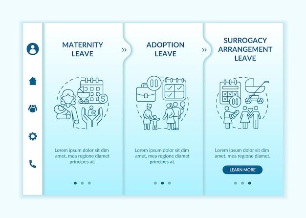 Opties voor zwangerschapsverlof onboarding vectorsjabloon