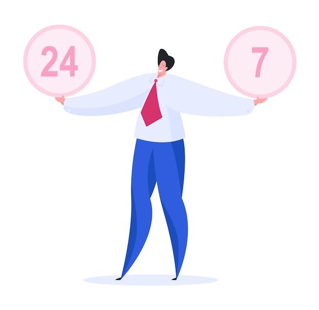 Optimistisch mannetje dat en ronde banners met 24 en 7 cijfers glimlacht toont