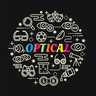 Optische kleurrijke verloop met lijn pictogrammen instellen