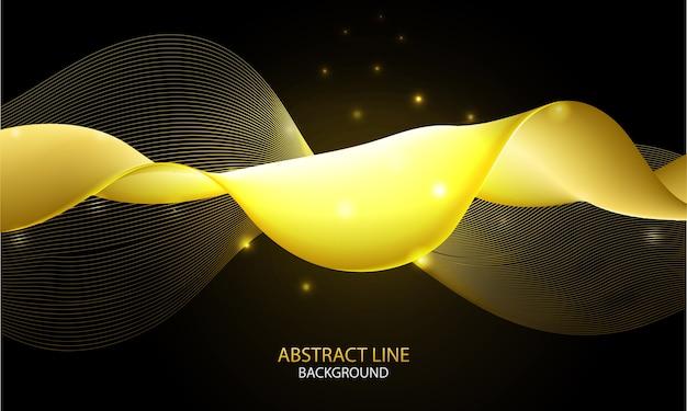 Optische kunst abstracte vloeiende achtergrond met gouden dynamische lineaire golven op donkere achtergrond