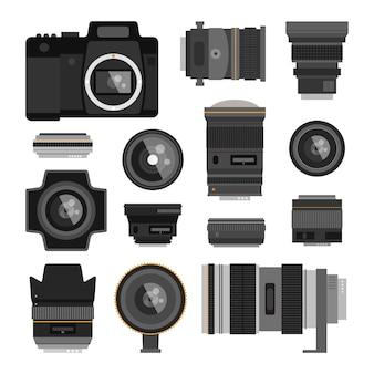 Optische lenzen voor foto's ingesteld