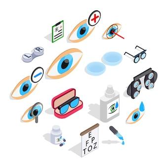 Optometrie iconen set, isometrische 3d-stijl