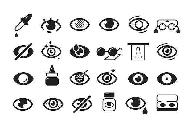 Optometrie pictogram. oogheelkunde symbolen oogarts lens opticien lijn collectie