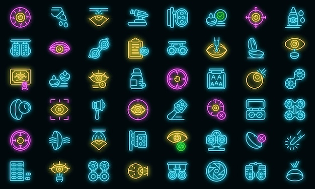 Optometrie pictogrammen instellen. overzicht set van optometrie vector iconen neon kleur op zwart