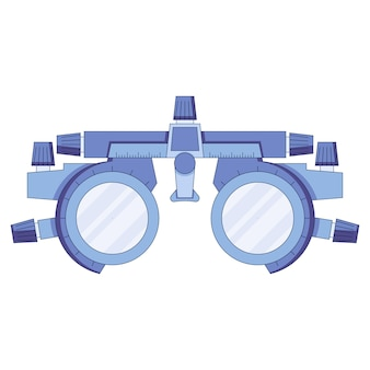 Optometrist icoon in een vlakke stijl oog test frame visie test dioptrie met schaal van meting