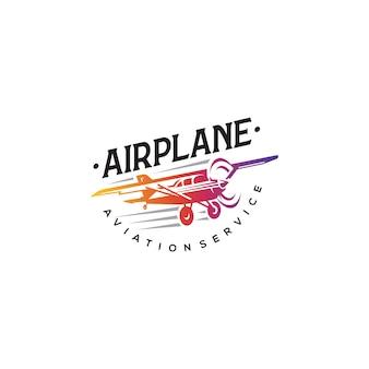 Opvliegende vliegtuig logo, etiketten en embleem elementen