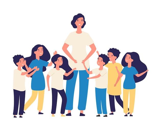 Opvoeder en kinderen. vector leraar, gelukkige kinderen karakters. groep kinderen van de kleuterschool basisschool met illustratie van de jonge vrouw. groep kinderen en babysitter, meisje en jongen