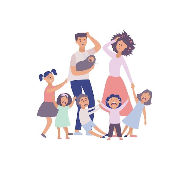 Opvoedingsprobleem grote familie vermoeide ouders