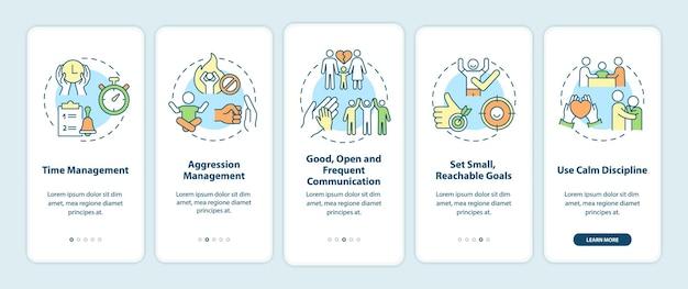 Opvoedtips voor het paginascherm van de mobiele app voor adhd-onboarding. time management walkthrough 5 stappen grafische instructies met concepten. ui, ux, gui vectorsjabloon met lineaire kleurenillustraties