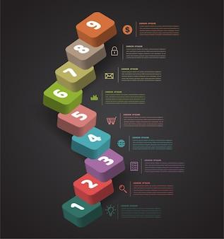 Opvoeren van zakelijk succesvol concept trap infographic vector