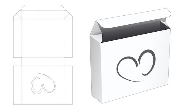 Opvouwbare blikken doos met hartvormig venster gestanst sjabloon