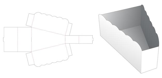 Opvouwbare driehoekige kom met gestanste sjabloon met gebogen rand