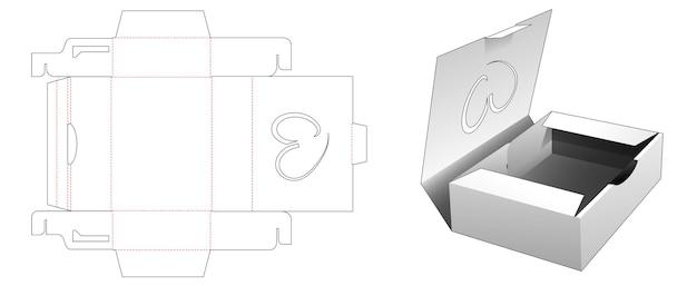 Opvouwbare flip-box met hartvormig venster gestanst sjabloon