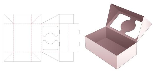 Opvouwbare flip-doos met 2 vensters op gestanste flip-sjabloon