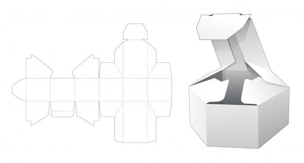 Opvouwbare korte zeshoekige doos gestanst sjabloon