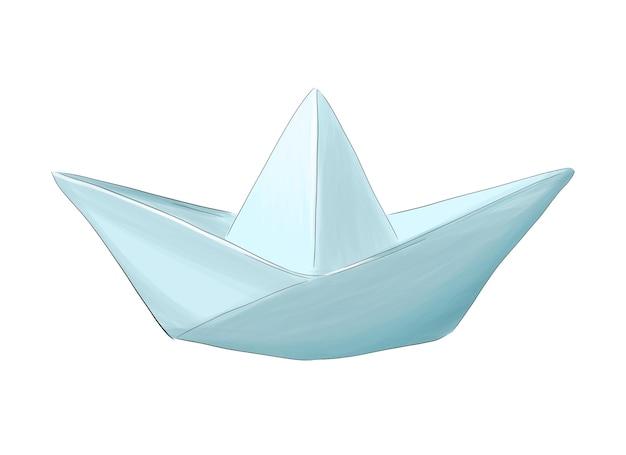 Opvouwbare papieren boot van veelkleurige verf splash van aquarel gekleurde tekening realistisch