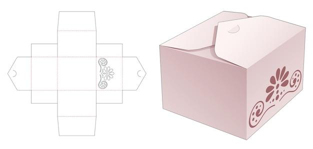 Opvouwbare rechthoekige doos met 2 flips en gestencilde mandala gestanste sjabloon